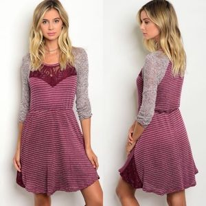 Burgundy Dress with Cinch waist and Lace Detail